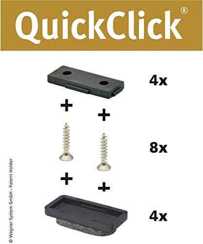 WAGNER QuickClick® Stuhlgleiter I 4er-Set zum Anschrauben I 4x Basis + 8x Schraube + 4x Gleiteinsatz I - ULTRASOFT - Einsatz Ø 32 x 15 mm - Made in Germany - 15782800