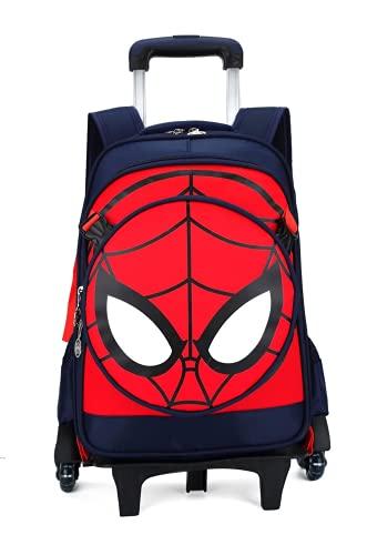 Spiderma-n Mochila con ruedas, mochila escolar, mochila escolar, trolley escolar, maleta para niños, maleta de viaje, duradera, 2, 30x14x41cm,