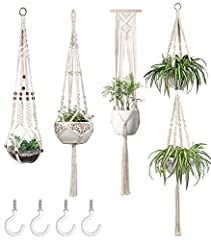STYLISH AND UNIQUE - The modern, vintage-inspired plant hanger adds the perfect touch to your room and living room. This beauty would be gracing your home or balcony garden, or brightening up an office. It also lets to keep your plants out of your pe...