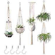 Mkono Macrame Plant Hangers Set of 4 Indoor Hanging Planter Basket Wall Decorative Flower Pot Holder with 4 Hooks for Indoor Outdoor Home Decor Gift Box, Ivory