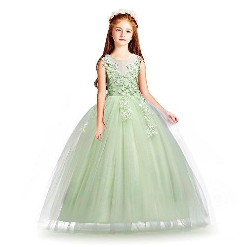 Huaaniue Ceremonie avondjurk, prinsessenjurk, klassiek, meisjes, bruiloft, jurk, bruidsmeisje, maat borduurwerk, bloem, 4-14 jaar - groen - 4-5 Ans(étiquette 120)