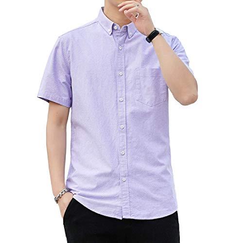 Camisas de Manga Corta para Hombres Color sólido Delgadas Cómodas Transpirables Camisas Simples Informales de Ajuste Regular 5X-Large