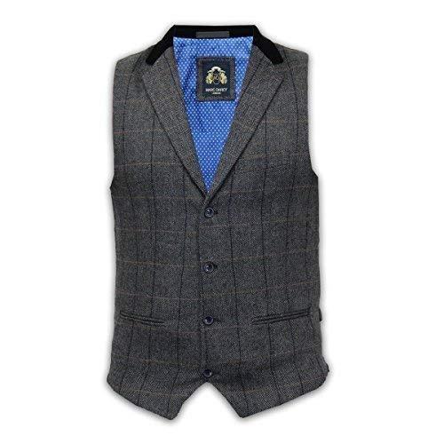 Marc Darcy Hommes Vintage Col en Tweed Gilet - DX7 Charbon (38)
