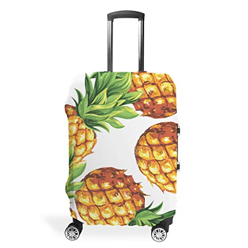 Zhcon Travel Luggage Cover Washable Fashion Spandex Travel Suitcase Cover Dust-Proof Baggage Protective Cover Pineapple Fruit Theme White m (60x81cm)