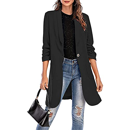 MIEAHORY Womens Casual Blazer Coat Jacket Adults Long Sleeve Solid Color Long Blazer Button Pocket Outwear Streetwear (Black, Medium)
