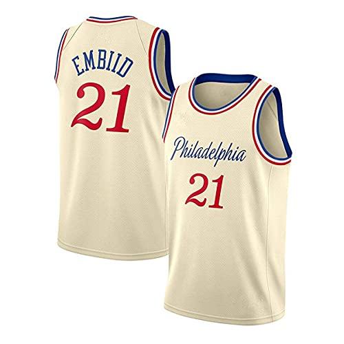 YMFZYM Camiseta de Baloncesto 76ers # 21 Embiid Hombres Camiseta de Ocio Ropa Deportiva Jersey sin Mangas Tela de Bordado,Beige2,XL