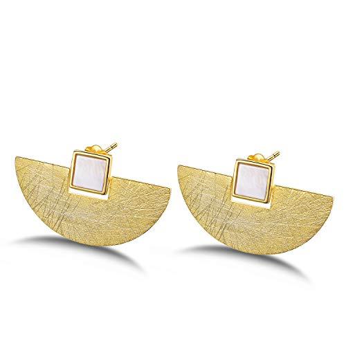 ♥ Regalo para Navidad♥ JIANGYUYAN S925 Pendientes de botón de plata esterlina Minimalismo en forma de abanico Pendiente con concha para mujeres y niñas(Gold)