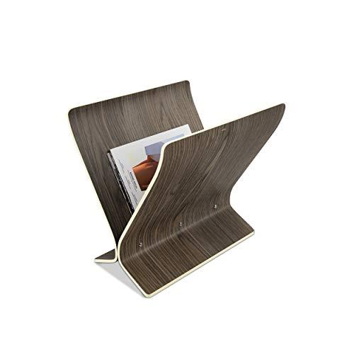 Umbra Arling freistehender Zeitungsständer, Zeitschriftenhalter und Schallplattenhalter aus Holz, Walnuss, One-Size