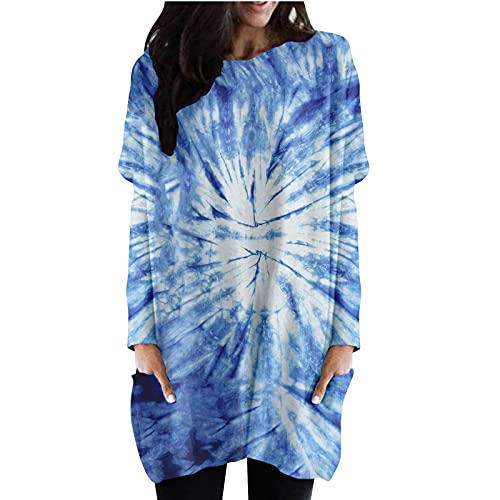 Briskorry Batik - Vestido de manga larga para mujer, cuello redondo, manga larga, para Halloween, tnica, flowy, vestido de playa, con bolsillos, Blau12, XL