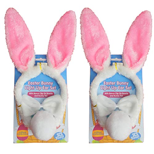 SCS Direct Easter Bunny Ears 3 Piece Halloween Couples Costume Set (2pk) - Includes 2 Blinking LED Ears, 2 Bowties, 2 Tail Outfits for Women, Men, Kids - One Size Fits All Headbands