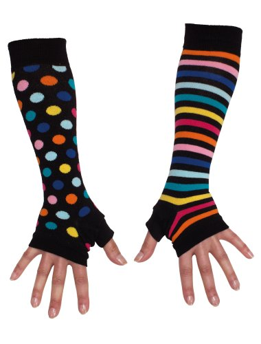 United Oddsocks Damen-Armstulpen, für Mädchen, unterschiedliches Paar Gr. One Size, Schwarz