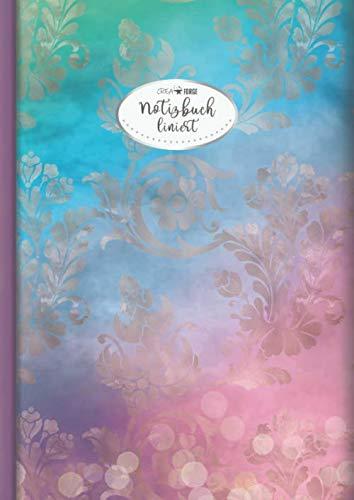 CreaForge Design Notizbuch A4 liniert: 140 Seiten mit Seitenzahlen & Register | XXL Notizheft Softcover glänzend mit Rand | Tagebuch | Journal | ... A4 liniert | Motiv: Pastell Blumen