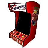 Doc and Pies Arcade Factory Classic Home Arcade Machine - Tabletop and Bartop - 412 Retro Games - Full Size LCD Screen, Buttons and Joystick (Red)