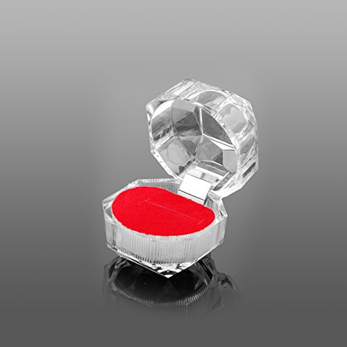RG-FA - Organizador de joyas, anillos, pendientes, caja de regalo acrílica, caja transparente rosso