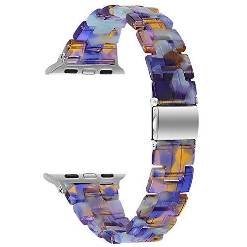Fhony Correa Compatible con Apple Watch Band 38mm 40mm 42mm 44mm Correa de Resina con Hebilla de Acero Inoxidable para Iwatch Series SE/6/5/4/3/2/1 Desmontaje Rápido,Blue Ice Ocean,38/40mm