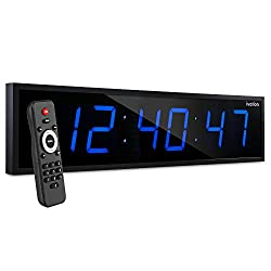 Ivation Huge 24 Inch Large Big Oversized Digital LED Clock with Stopwatch, Alarms, Countdown Timer & Temp - Shelf or Wall Mount (Blue) | 6-Level Brightness, Mounting Holes & Hardware