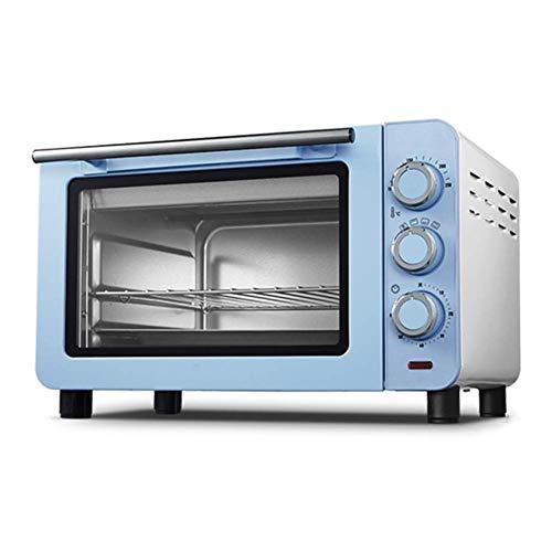 Automatische mini-bakoven met timer 60 minuten inclusief bakplaat en bescherming tegen verbranding handschoenen 1200W kookvermogen 15L capaciteit blauw roze (blauw) Blauw