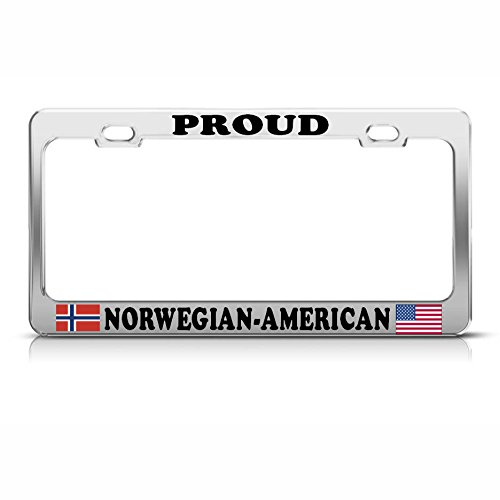 Norwegian American Flags Chrome Heavy Duty Metal License Plate Frame Tag Border Perfect for Men Women Car garadge Decor