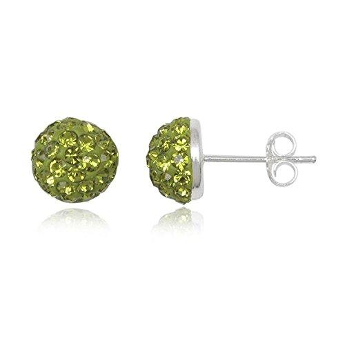8MM Half Disco Ball Sterling Silver Stud Earrings/Ear Studs for Women/Teenage/Girls - 925 Sterling Silver - Round Silver Earrings - GREEN OLIVINE. 8-GO