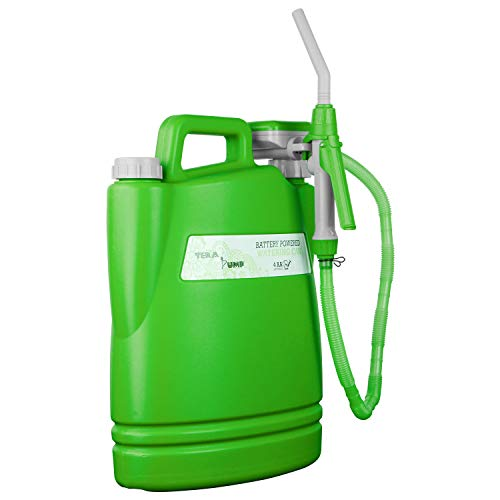 TERA PUMP TRWC - Battery Powered Watering Can with 2.5 Feet Long Hose, Green, 3.8 Gallon Can (Included) - 1.3 GPM