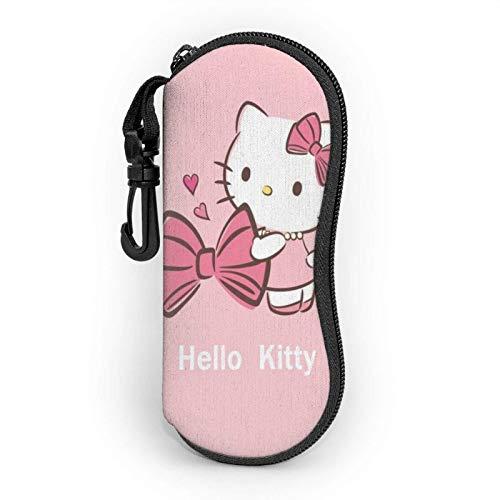 Estuche Para Las Gafas Con Mosquetón,Dibujos Animados Hello Kitty Pink Hombres Mujeres Funda De Gafas Del Sol,Gafas Duro Caso Con Cremallera,Estuche Plegable De Gafas,Gafas Protectoras
