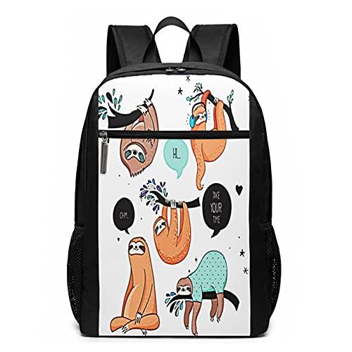 Schulrucksack Pyjama Faultiere lustig, Schultaschen Teenager Rucksack Schultasche Schulrucksäcke Backpack für Damen Herren Junge Mädchen 15,6 Zoll Notebook