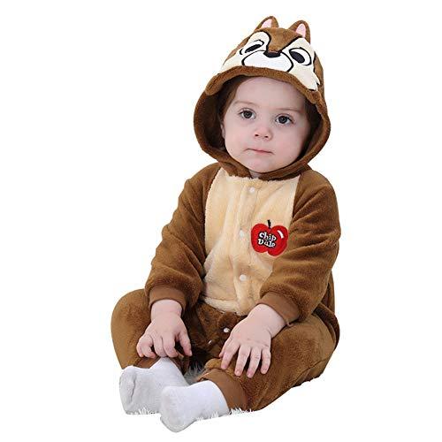 LSERVER Mameluco de Cosplay para Bebés Recién Nacidos Ropa de Arrastre Disfraz Unisexo de Franela con Capucha Estilo Animales, Ardilla, 80 (Altura Recomendada:66-73cm)