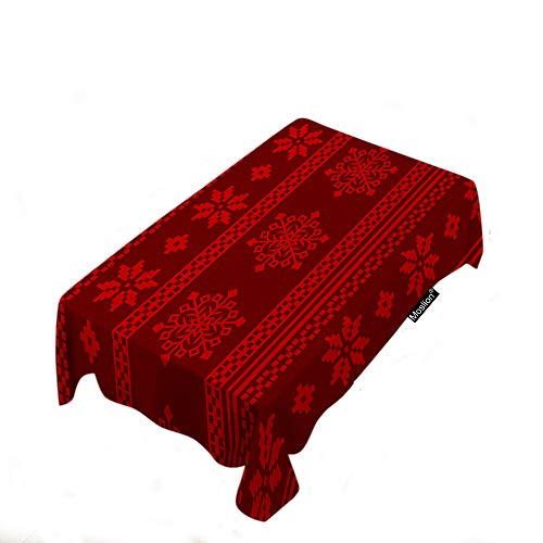 Moslion Scandinavian Sweater Pattern Tablecloth Christmas Red Pattern Snowflake Boho Style Rectangle Tablecloth Picnic Tablecloth BBQ Table Cloths Polyester for Kitchen 60x104 Inch