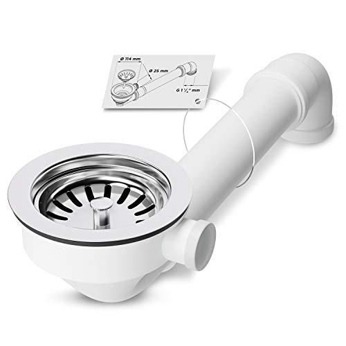 AQUADE 6050 Siebkorbventil Ø 144mm Siebkorb Ablaufgarnitur Ablaufventil Ablauf mit Raumschaffer 1 Zoll Anschluss für Überlauf Küchenspüle Spüle Spülbecken Abflussgarnitur, Kunststoff