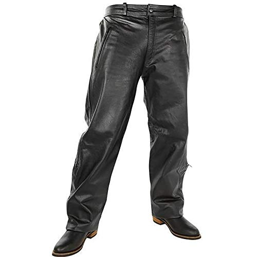 Xelement B7440 Men's Black Leather Motorcycle Overpants with Side Zipper and Snaps - 38