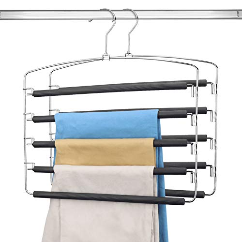 DOIOWN Pants Hangers Trousers Hangers 5 Layers Pants Organzier Space Saving Slacks Hangers Non Slip Stainless Steel Clothes Hangers Closet Storage Organizer for Pants Jeans Skirts Towels 2 Pack