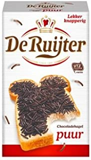 Hagelslag PUUR - Pure Dark Real Chocolate Sprinkles - jimmies - On Buttered bread, Cupcake sprinkles, Great Cake Topping & a Yummy addition to any Deseret(Packaging may vary)