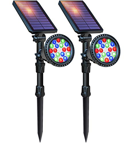DBF Solar Lights Outdoor, 18 LED Waterproof Solar Landscape Lights Solar Spotlight Color Changing Auto/Lock Solar Powered Landscape Lighting for Garden Yard Pathway Pool Decorative, 2 Pack (7 Color)