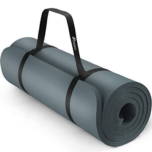 TRESKO Esterilla de Fitness 185 x 60 cm y 190 x 100 cm para Gimnasia, Yoga, Pilates y Cualquier Tipo de Entrenamiento | Suave y cómoda | Espuma NBR (Azul Indigo, 190 x 100 x 1,5 cm)