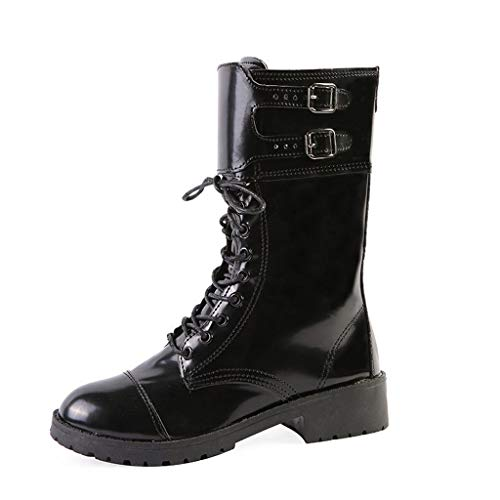 Platform Mid Calf Boots, RQWIEN Lace Up Chunky Block High Heels Short Ankle Booties Motorcycle Combat Boots Black