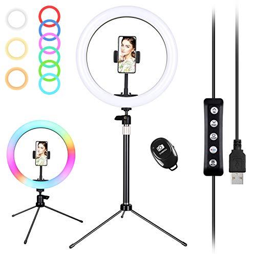 Zacro Selfie Ringleuchte Stativ mit Fernbedienung und Handyhalter, Selfie Ringlicht mit 6 RGB Farbwechsel+9 Helligkeitsstufen, Portrait Light für schöne Fotos oder Videosschooting(10 Zoll)