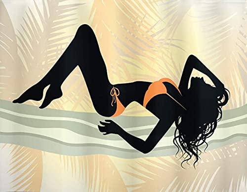 GOCHAN Kit de pintura de diamante 5D DIY,Pin Up Girl Jovencita de pelo largo y rizado con bikini posando figura naranja pálido azul gris y negro,Pintura de diamante para decoración