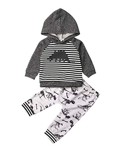 Toddler Infant Baby Boys Dinosaur Long Sleeve Hoodie Tops Sweatsuit Pants Outfit Set (0-6 Months, Striped Tops)