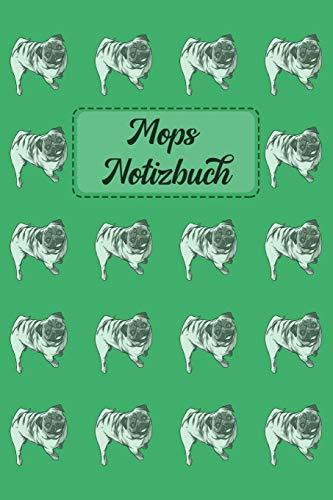 Mops Notizbuch: Journal für Notizen in grün mit Mops-Muster - 6 x 9 (ca. A5)