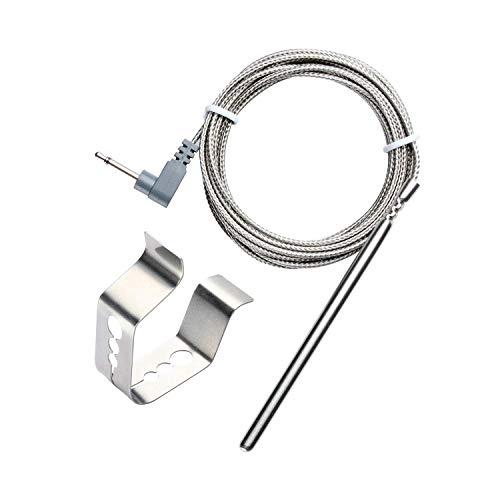 BBQ Go BBQ Grill Ofen Thermometer Sonde Ersatz für Maverick ET732, et733& Ivation iva-wltherm & ivawt738mit 6ft Edelstahl Kabel Oven probe + Clip weiß