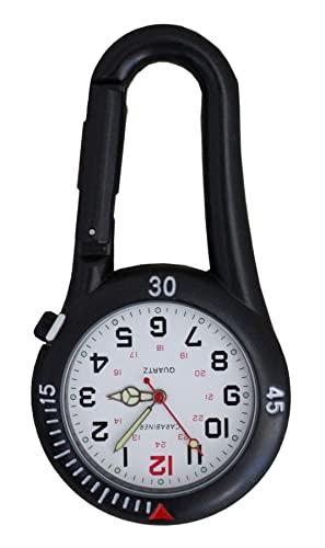 Carabiner Marke Schwarz Clip auf Karabiner Schwarz Gesicht FOB Uhr für Ärzte Krankenschwestern Sanitäter Köche Leuchtende Hände