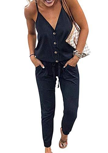 PRETTYGARDEN Women's Spaghetti Strap V Neck Button Drawstring Summer Stretchy Long Romper Jumpsuit with Pockets (Black, Medium)
