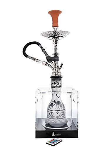 LED Mini Box Hookah Stand to Protect Hooka from Falling Over or Breaking, Clear Acrylic Box, Helps Secure Shisha Nargila, Stop Burnt Carpets, Accessories include Ice Bucket (LED Mini Box Stand, Clear)