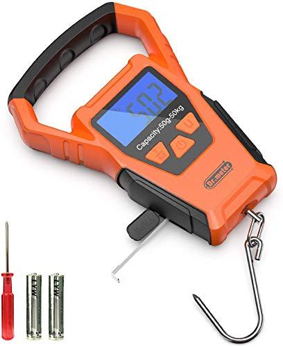Dr.meter Digitale Kofferwaage, IPX7 wasserdichte LCD-Anzeige mit Hintergrundbeleuchtung Digitale Fischwaage mit größerem Griff und Haken, eingebautes Klebeband, inkl. Batterie
