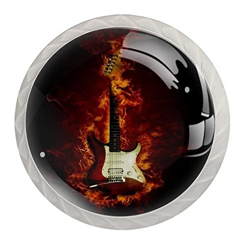 FURINKAZAN Tirador de gabinete para guitarra eléctrica en llamas, 4 unidades, cajón para puerta de armario de cocina