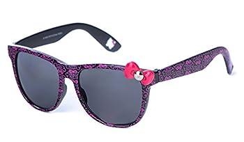 Womens Fashion Shiny Black Frame/Pink Hello Kitty Design Sunglasses