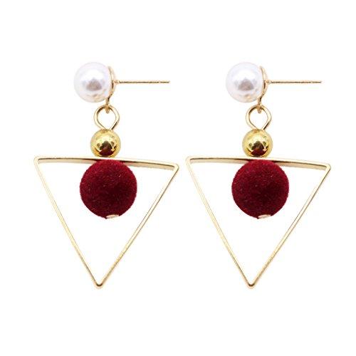 Harilla Joyas De Moda Geometry Triangle Faux Pearls Cuelga Los Pendientes con Bola De Lana - Vino Rojo