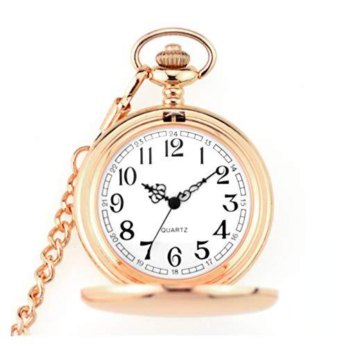JWGD Taschenuhren Mode 37 cm Fob Kette Glatte Stahl Quarz Taschenuhr Vintage Römische NMBER Zifferblatt Anhänger FOB Watch Geschenke Uhr (Farbe : Rose Gold)