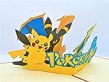 BC Worldwide Ltd handgemachte 3D-Pop-up-Karte Pokémon Taschenmonster Geburtstag Kind Kind Party Einladung Jubiläum Muttertag Vatertag Valentinstag - 5