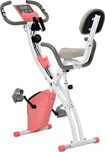 Cyclette Pieghevole 2 in 1 Resistenza Regolabile Schermo LCD Rosa 196PKekA90